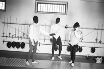 Minors incarcerated at a nearby prison participate in a fencing session at a studio in the city of Thiès, Senegal on April 28, 2015. Supported by OSIWA, organisation 'Pour un sourire d'enfant' has implemented the sport of fencing as a form of restorative justice in a minor's prison for males and females in the city of Thiès, Senegal. This innovative judicial method works as a restorative rather than punitive approach to justice. Fencing is an effective method for helping incarcerated young people build self-confidence and respect (both for themselves and others), and engender discipline and determination.
