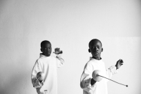 Mansour and Becaye (from left) undertake exercises during a fencing session at a studio in the city of Thiès, Senegal on May 2, 2015. Supported by OSIWA, organisation 'Pour un sourire d'enfant' has implemented the sport of fencing as a form of restorative justice in a minor's prison for males and females in the city of Thiès, Senegal. This innovative judicial method works as a restorative rather than punitive approach to justice. Fencing is an effective method for helping incarcerated young people build self-confidence and respect (both for themselves and others), and engender discipline and determination.